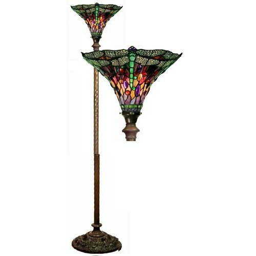Warehouse Of Tiffany 1509-BB75B Dragonfly Red & Purple Torchiere Lamp
