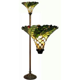 Warehouse Of Tiffany 3742#-BB75B Green Leafy Torchiere Lamp