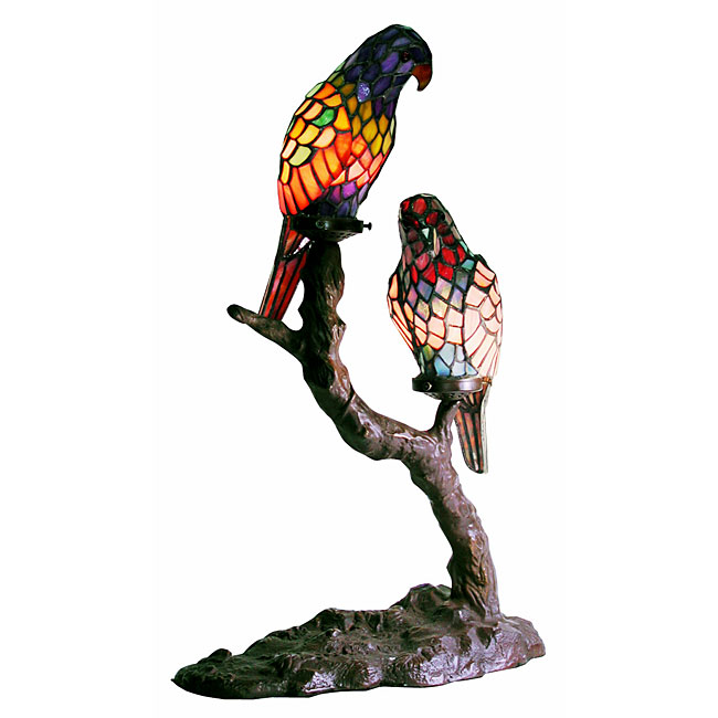 Warehouse Of Tiffany 1600x2-BB449 Exotic Birds Accent Lamp