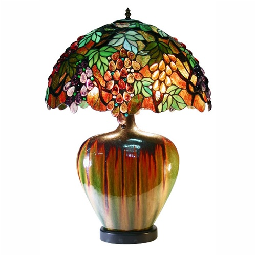 Warehouse Of Tiffany 2562-PB07 Grape Lamp With Ceramic Base
