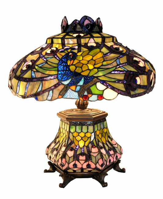 Warehouse Of Tiffany 2954#LSH Peacock Lantern Table Lamp
