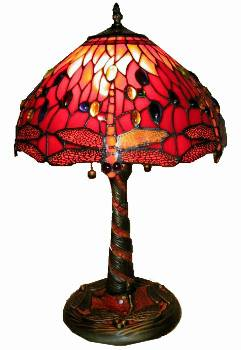 Warehouse Of Tiffany T14288TGRA Red Dragonfly Lamp with Mosaic Base