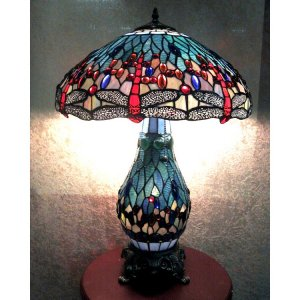 Warehouse Of Tiffany T18275TGRB Dragonfly Lamp with Lighted Base