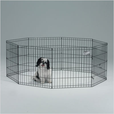 24 x 30 Inch Exercise Pen with Door - Black  - 552-30DR