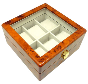 Burl Heiden Premier Burlwood Watch Box for 6 Watches