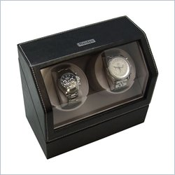 Leather Heiden Battery Powered Dual Watch Winder- Black Leather