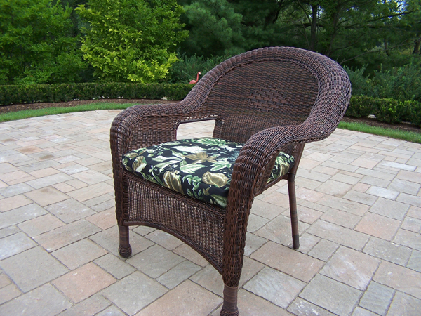 Oakland Living Corporation 90030-C-BF-CF Resin Wicker Arm Chair with Cushion