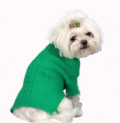 A Pets World 07153703-14 Mercerized Cotton Roll Neck Cable Grass Green Dog Sweater