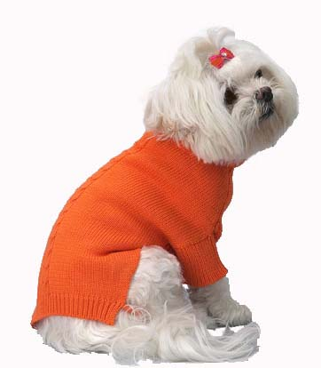 A Pets World 07153707-14 Mercerized Cotton Roll Neck Cable Orange Citrus Dog Sweater