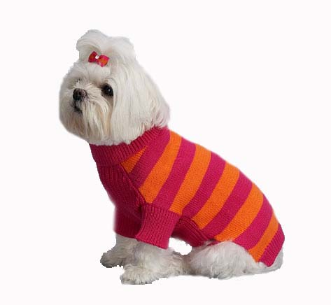 A Pets World 07153822-14 Mercerized Cotton Azalea-Orange Rugby Dog Sweater