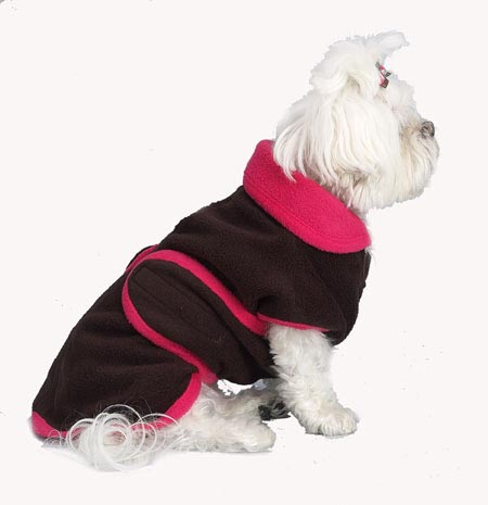 A Pets World 08190700-8 Chocolate-Hot Pink Fleece Dog Coat