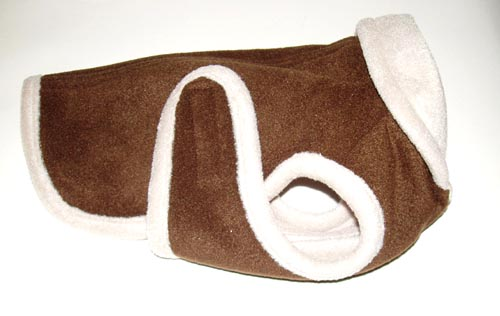 A Pets World 08190710-18 Chocolate-Beige Fleece Dog Coat