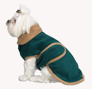 A Pets World 08190733-10 Bottle Green-Camel Fleece Dog Coat