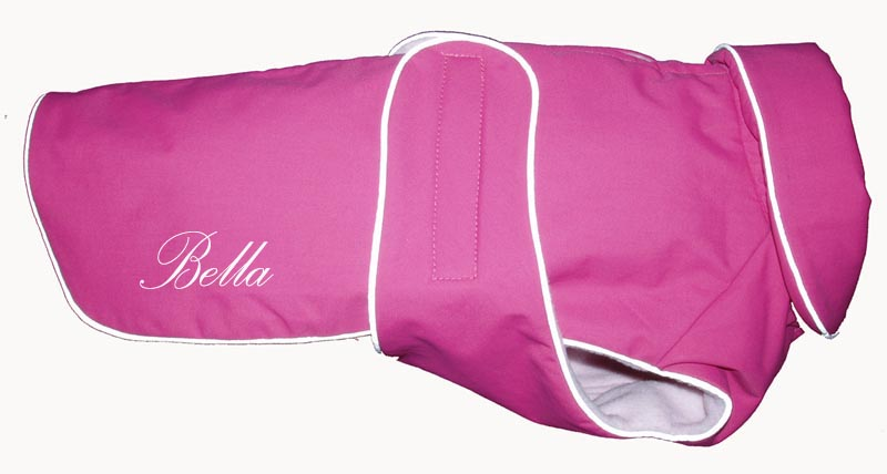 A Pets World 08192922-14 Weatherproof Fleece Lined Dog coat Dark Pink
