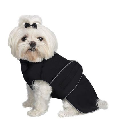 A Pets World 08192999-14 Weatherproof Fleece Lined Dog coat Black