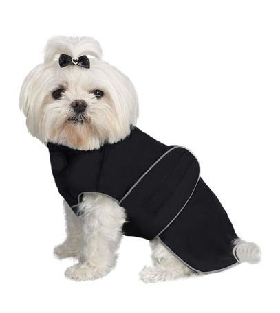 A Pets World 08192999-18 Weatherproof Fleece Lined Dog coat Black