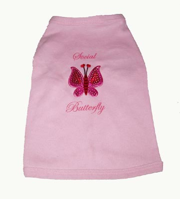 A Pets World 17011002-MED Dog T shirt--Sequin Butterfly