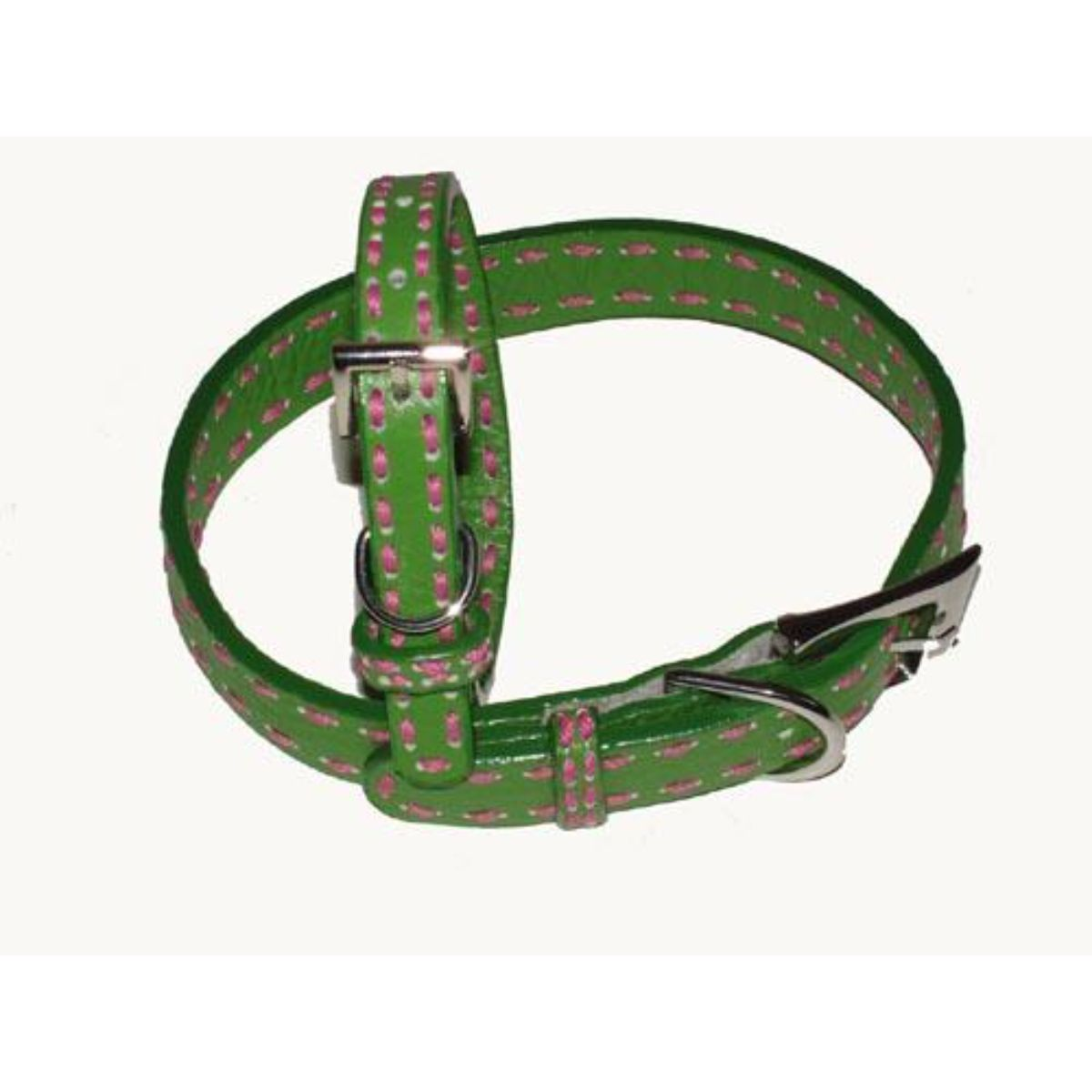 A Pets World 03011303-14 Leather Dog Collar- Green-Hot Pink Saddle Stitch