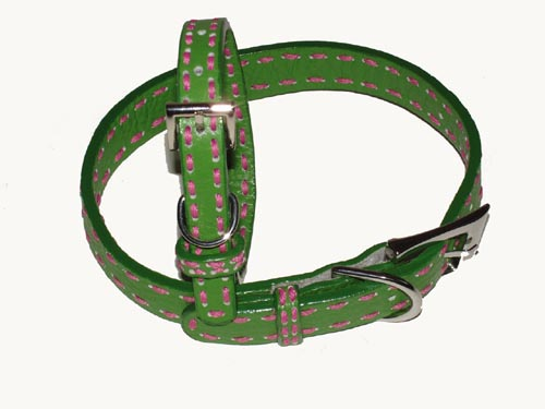 A Pets World 03011303-16 Leather Dog Collar- Green-Hot Pink Saddle Stitch