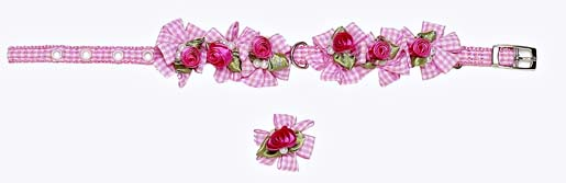 A Pets World 14000122-14 Ribbon Dog Collar + Leash Set-Pink Gingham Petal Flower Rosette with Pearls