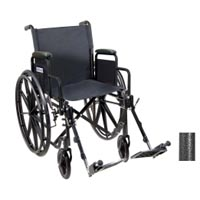 Drive Medical Ssp118Fa-Sf Silver Sport 1 Wheelchair With Full Arms And Swingaway Removable Footrest- Black