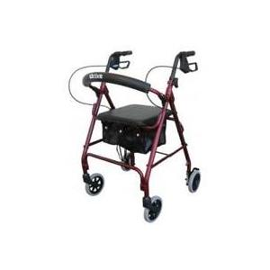 Drive Medical R726Rd Aluminum Rollator With Fold Up And Removable Back Support- Red