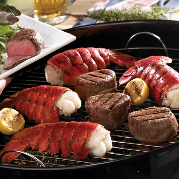Lobster Gram M10FM4 FOUR 10-12 OZ MAINE LOBSTER TAILS AND TWO 6 OZ FILET MIGNON STEAKS
