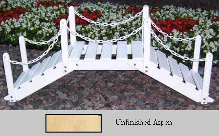 Prairie Leisure Design 47B Unfinished Aspen Decorative Garden Bridge With Posts And Chain Unfinished