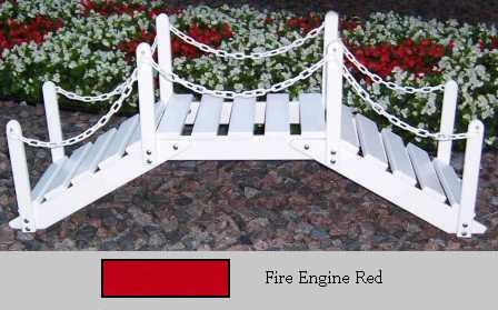 Prairie Leisure Design 47B Fire Engine Red Decorative Garden Bridge With Posts And Chain Fire Engine Red