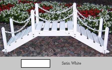 Prairie Leisure Design 47B Satin White Decorative Garden Bridge With Posts And Chain Satin White