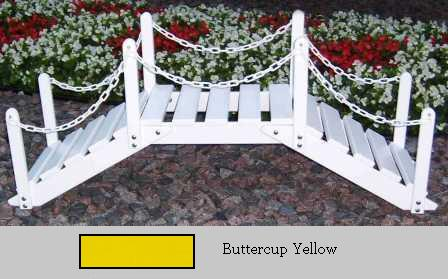 Prairie Leisure Design 47B Buttercup Yellow Decorative Garden Bridge With Posts And Chain Buttercup Yellow