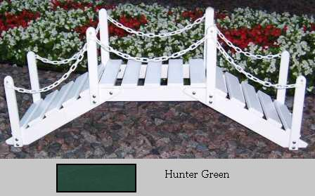 Prairie Leisure Design 47B Hunter Green Decorative Garden Bridge With Posts And Chain Hunter Green