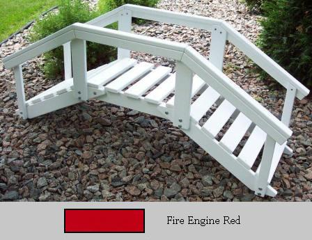 Prairie Leisure Design 47C Fire Engine Red Decorative Garden Bridge With Posts And Rails Fire Engine Red
