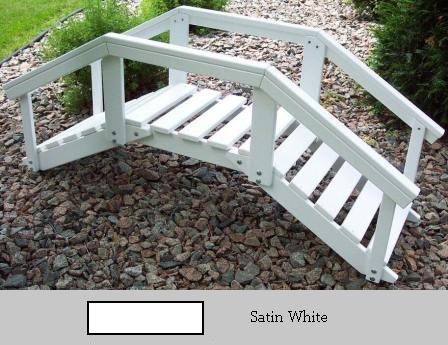 Prairie Leisure Design 47C Satin White Decorative Garden Bridge With Posts And Rails Satin White