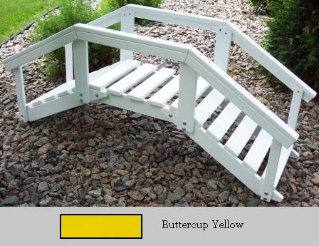 Prairie Leisure Design 47C Buttercup Yellow Decorative Garden Bridge With Posts And Rails Buttercup Yellow