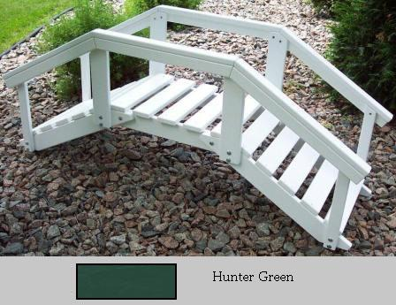 Prairie Leisure Design 47C Hunter Green Decorative Garden Bridge With Posts And Rails Hunter Green