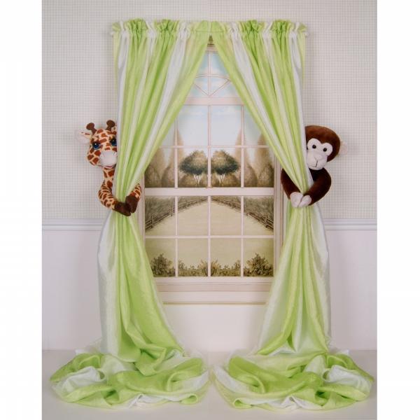 Curtain Critters ALGFMY240510COL Plush Safari Giraffe and Chocolate Monkey Curtain Tieback Collector Set