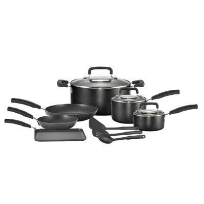 T-Fal/Wearever C111SC64 T-Fal 12pc Cookware Set- Black