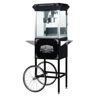 Great Northern 6005 Black Lincoln Eight Ounce Antique Popcorn Machine and Cart DTXINT090