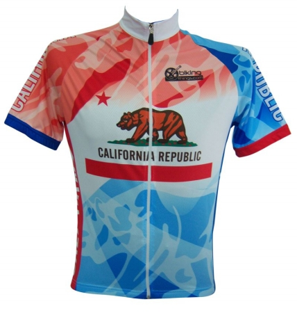 Bikingthings califjerL California Bike Jersey- CA Cycling Shirt - Size L