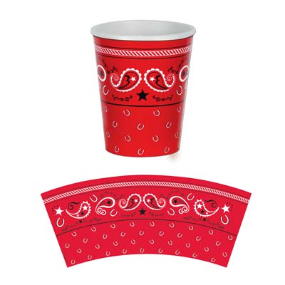 Beistle 58209 9 Ozs Bandana Beverage Cups - Pack of 12 BSTL6515