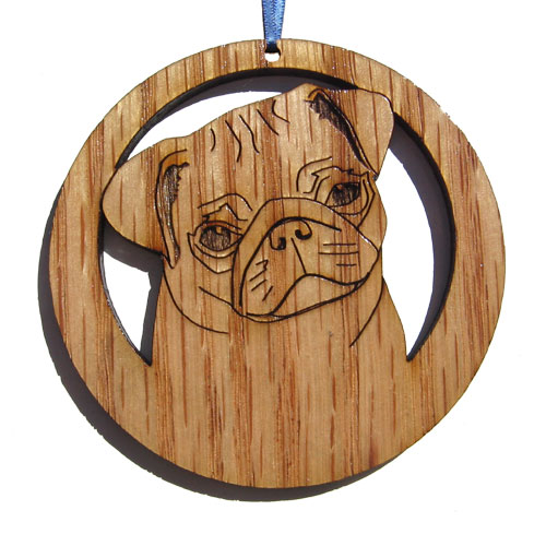 apos;Camic designs DOG127N6 LaserEtched Pug Ornaments Set of 6