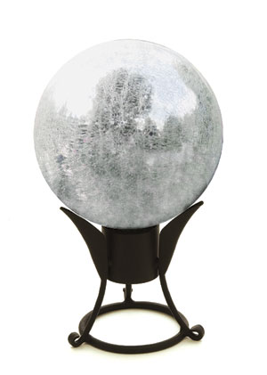 Achla G10-S-C 10 in. Gazing Globe in Silver with Crackle