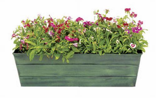 Achla VFB-05 Galvanized Tin Window Box Garden Planter - Powder Coated in Green Patina- Standard