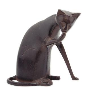 Achla CAT-05 Coy Cat Statue - Aluminum with Dark Bronze