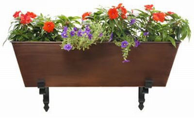 Achla C-82C Galvanized Tin Flower Box - Copper Color