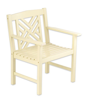 Achla OFC-10A Fretwork Arm Patio Dining Chair - Ivory Antique
