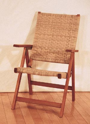 Achla OFC-03 Poly Weave Folding Outdoor Lounge Chair - Natural Oiled