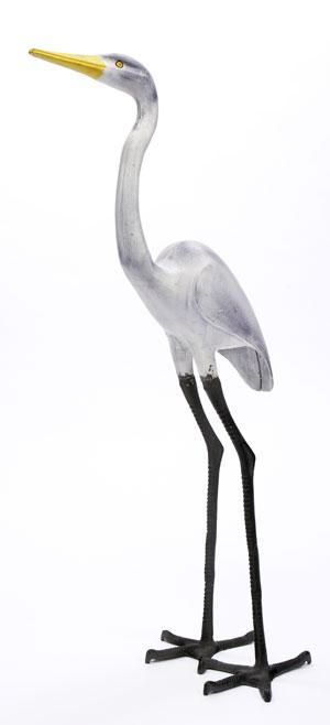 Achla E-02 Great Egret Statue in Black- White- Yellow Alum