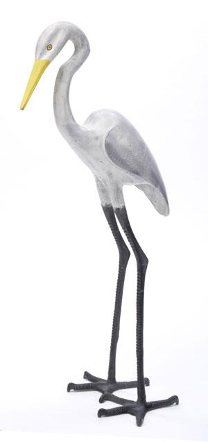 Achla E-03 Great Egret Statue - Black- White- Yellow Alum